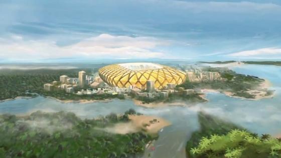 Arena Amazônia (Manaus) na abertura oficial da Copa do Mundo de 2014. Crédito: Fifa/youtube