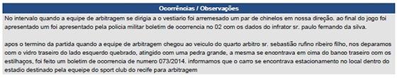 Súmula do jogo Sport 1x4 Corinthians, na Série A 2014. Crédito: CBF/reprodução