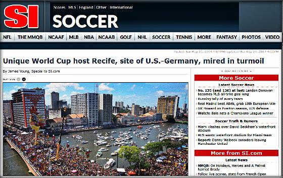 Sports Illustrated em 26/05/2014, falando do Recife sobre a Copa do Mundo de 2014