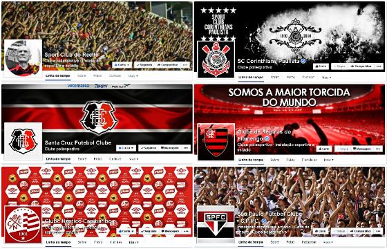 Páginas com mais curtidores em 01/08/2014. Pernambuco: 1) Sport, 2) Santa Cruz e 3) Náutico. Brasil: 1) Corinthians, 2) Flamengo e 3) São Paulo