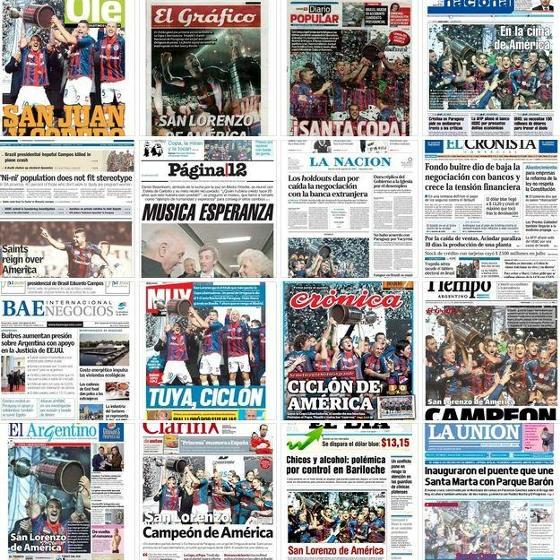 Jornais de Buenos Aires relatam a conquista da Libertadores pelo San Lorenzo em 2014, nas edições de 14 de agosto
