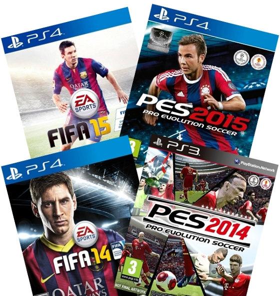 Capas dos games Fifa 2014 e 2015 e Pro Evolution Soccer 2014 e 2015. Crédito: Arte de Cassio Zirpoli sobre imagens de divulgação
