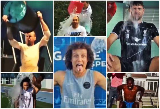 Desafio da água gelada no futebol. Crédito: youtube/reprodução