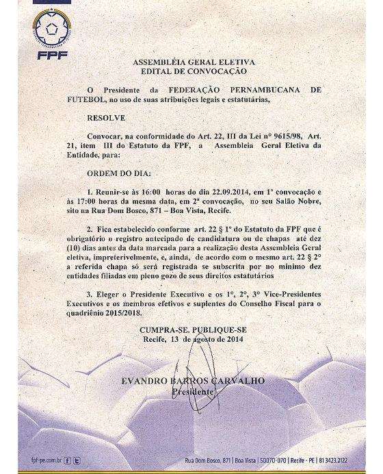 Edital de convocação para a eleição presidencial da FPF. Crédito: FPF/reprodução