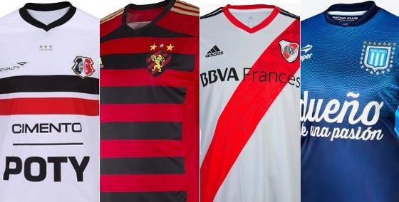 Camisas de Santa Cruz (2014), Sport (2014), River Plate (2014) e Racing (2014)