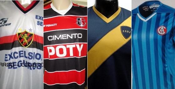 Camisas de Sport (1999), Santa Cruz (2010), Boca Juniors (2005) e Independiente (2014)