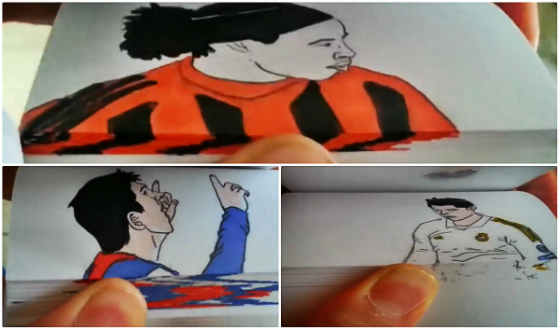 Flip book de Ronaldinho Gaúcho, Lionel Messi e Cristiano Ronaldo. Crédito: youtube/reprodução