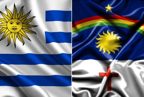 Bandeiras de Uruguai e Pernambuco