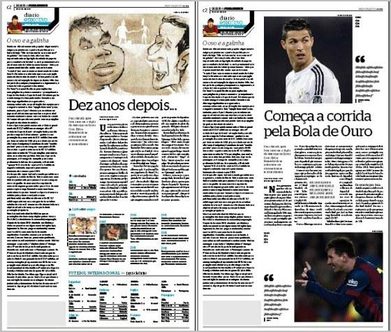 Edições do Superesportes em 18 de janeiro de 2015. A versão final (Bala e Rosembrick) e o esboço (Cristiano Ronaldo e Messi)