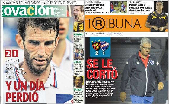 Jornais uruguaios em 25 de janeiro de 2015: Ovación e Tribuna