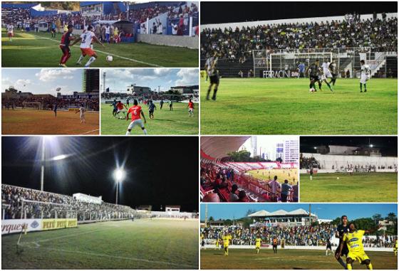 Taça Eduardo Campos de 2015, nos oito estádios. Fotos: FPF/site oficial, Serra Talhada/facebook e Pesqueira/twitter