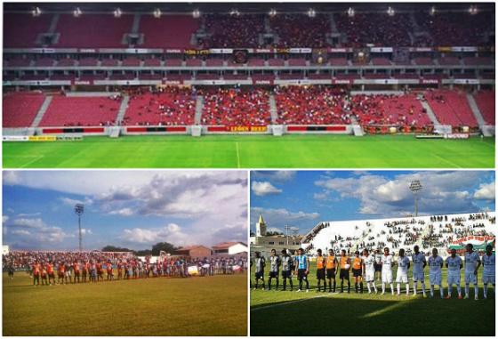 Pernambucano 2015, 2ª rodada: Sport 1x0 Náutico, Serra Talhada 3x0 Santa Cruz e Salgueiro 0x1 Central. Fotos: Daniel Leal/DP/D.A Press (Arena) e FPF/assessoria (Pereirão e Cornélio de Barros)