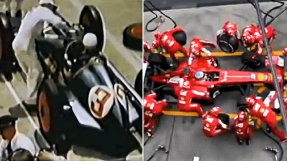 Pit Stop na Fórmula 1 em 1950 e 2013. Crédito: youtube/reprodução