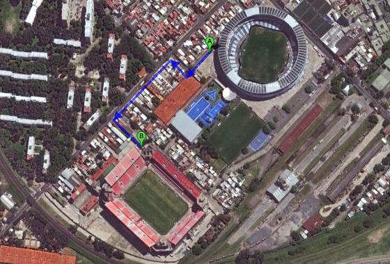 Estádios em Avellaneda, Argentina. Imagem: Google Maps