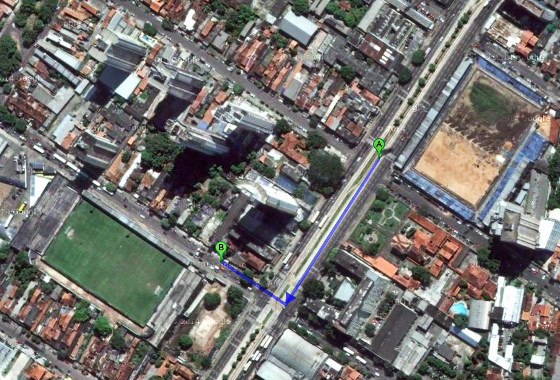 Estádios em Belém, Brasil. Imagem: Google Maps