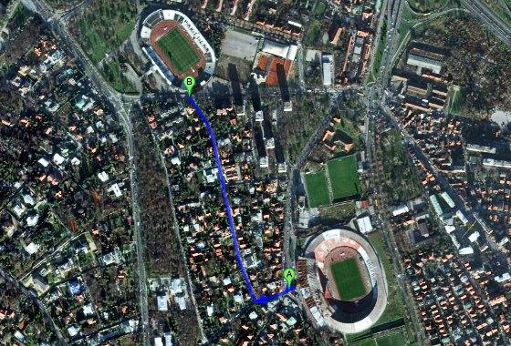 Estádios em Belgrado, Argentina. Imagem: Google Maps