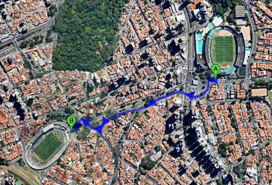 Estádios em Campinas, Brasil. Imagem: Google Maps