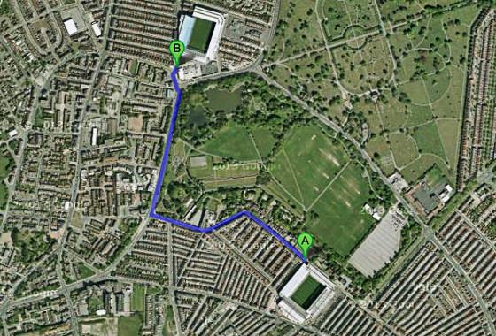 Estádios em Liverpool, Inglaterra. Imagem: Google Maps