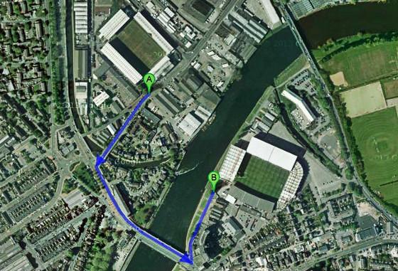 Estádios em Nottingham, Inglaterra. Imagem: Google Maps