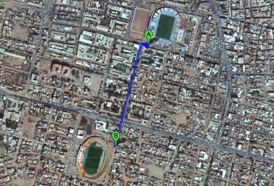 Estádios em Omdurman, Sudão. Imagem: Google Maps