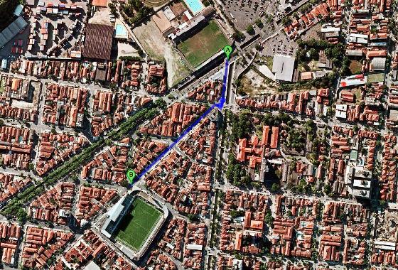 Estádios em Santos, Brasil. Imagem: Google Maps