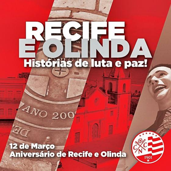 Homenagem do Náutico aos aniversários de Recife e Olinda, em 12 de março de 2015. Crédito: Náutico/facebook