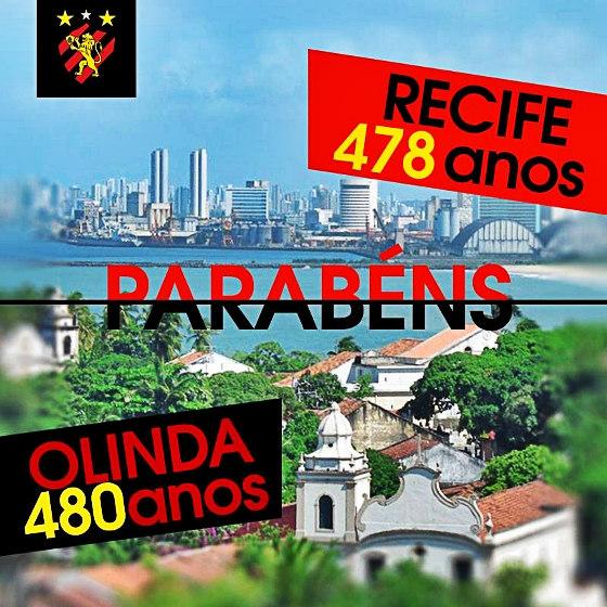 Homenagem do Sport aos aniversários de Recife e Olinda, em 12 de março de 2015. Crédito: Sport/facebook