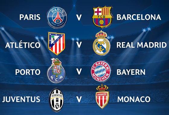 Quartas de final da Champions League 2014/2015. Crédito: Uefa
