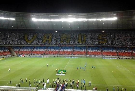 Mosaico no Castelão feito pela torcida do Fortaleza na Série C de 2014. Foto: noticia_fute  (twitter)