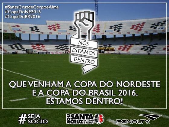 Santa Cruz classificado às Copas do Nordeste e do Brasil em 2016. Crédito   Santa ff9e464675d56