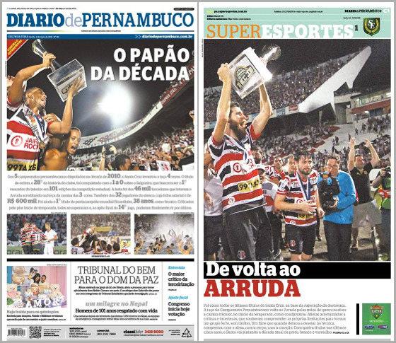 As capas do Diario de Pernambuco e do caderno Superesportes do dia 4 de maio e 2015, com o título estadual do Santa Cruz nas manchtes