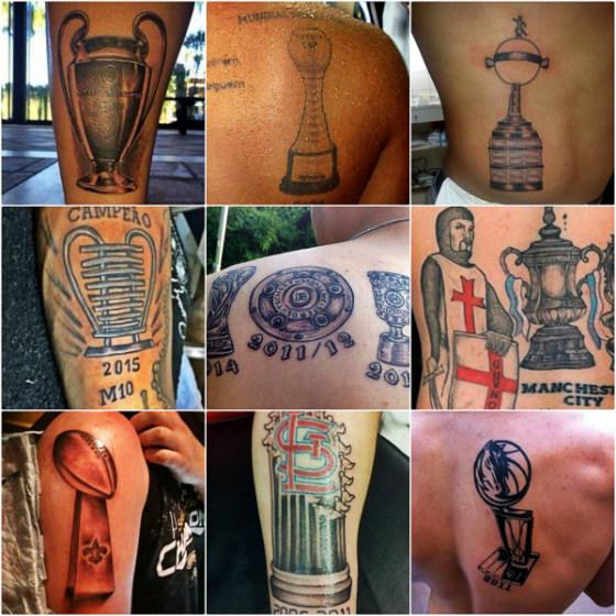 Tatuagens de troféus, da Copa do Mundo até a Copa do Nordeste