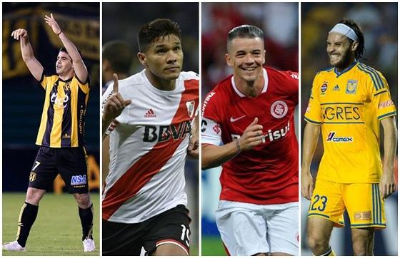 Semifinais da Libertadores 2015: Guaraní (Paraguai) x River Plate (Argentina) e Internacional (Brasil) x Tigres (México). Fotos: Conmebol/Twitter