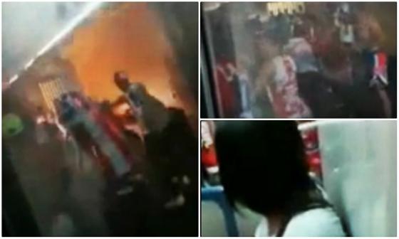 Violência no metrô, na Estação do Barro, antes do clássico Náutico x Santa, pela Série B de 2015. Crédito: youtube/reprodução