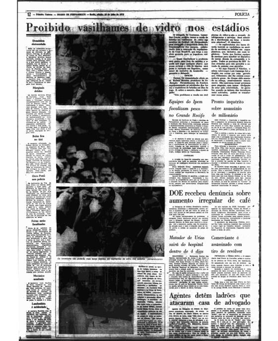 Diario de Pernambuco de 1975, com a proibição de vasilhames de vidro nos estádios