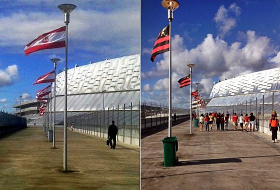 Bandeiras na entrada da Arena Pernambuco nos jogos de Náutico e Sport. Fotos: Milton Neto/twitter (@miltoncneto) e Sport/Facebook