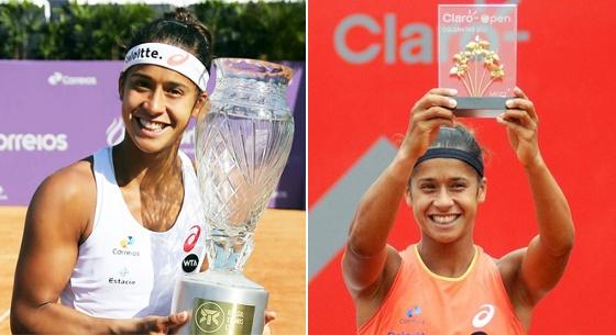 Os títulos de WTA de Teliana Pereira em 2015: Florianópolis (02/08) e Bogotá (19/04). Imagens: divulgação