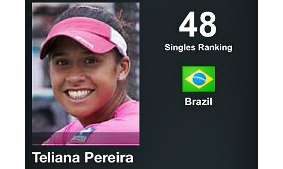 Teliana aparece em 48º lugar no ranking da WTA em 3 de agosto de 2015. Crédito: reprodução