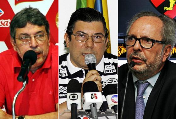 Os presidentes de Náutico (Glaubes Vasconcelos), Santa Cruz (Alírio Moraes) e Sport (João Humberto Martorelli) em 2015. Fotos: Náutico e Superesportes
