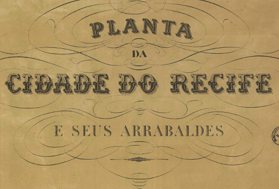 Planta do Recife em 1875. Crédito: Biblioteca Nacional