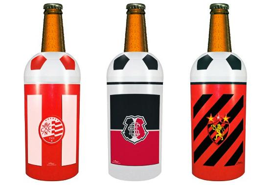 Cervejas de Náutico, Santa e Sport. Arte sobre imagens do clubemix.com.br/