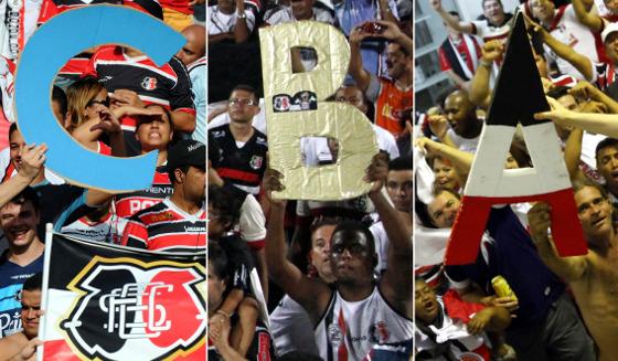 Os acessos do Santa Cruz em 2011 (Série C), 2013 (Série B) e 2015 (Série A). Fotos: Ricardo Fernandes/DP/D.A Press