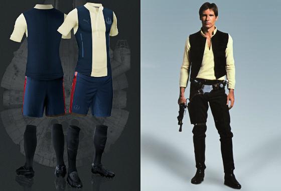 Uniforme de futebol inspirado em Han Solo. Arte  Nerea Palacios (www.behance 76a8d383e53b9