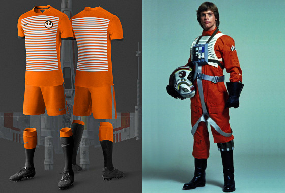 Uniforme de futebol inspirado em Luke Skywalker. Arte  Nerea Palacios  (www.behance 0fc84737fa0cb
