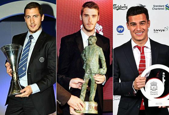 Player oh the Year 2015 de Chelsea (Hazard), Manchester United (De Gea) e Liverpool (Philippe Coutinho). Crédito: clubes/divulgação