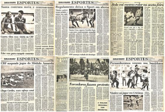 Edições do Diario de Pernambuco de 10 de setembro a 15 de setembro de 1987. Crédito: Arquivo/DP