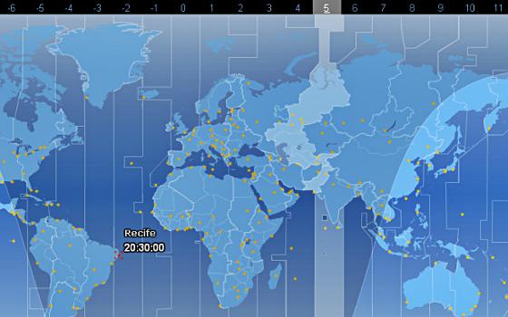 Fuso horário do Recife às 20h30. Crédito: 24timezones.com