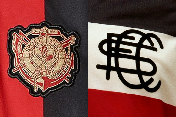 Sport x Santa Cruz, com os primeiros escudos de cada clube. Arte: Cassio Zirpoli (com imagens de divulgação)
