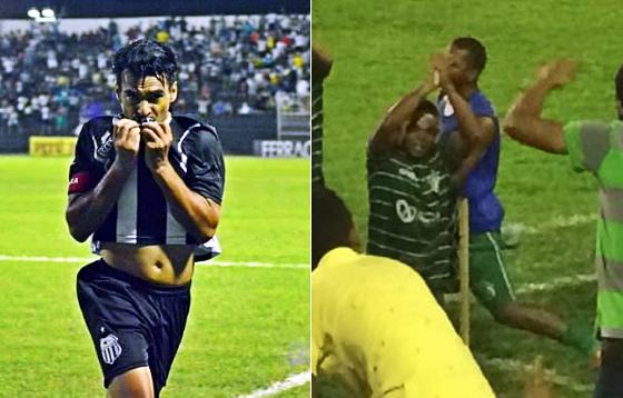 Araújo e Carlinhos Bala, atacantes de Central e América, balançando as redes no Pernambucano 2016. Fotos: Central/facebook (portal No Detalhe) e Emanuel Borges/twitter (@EmanuelBVA)