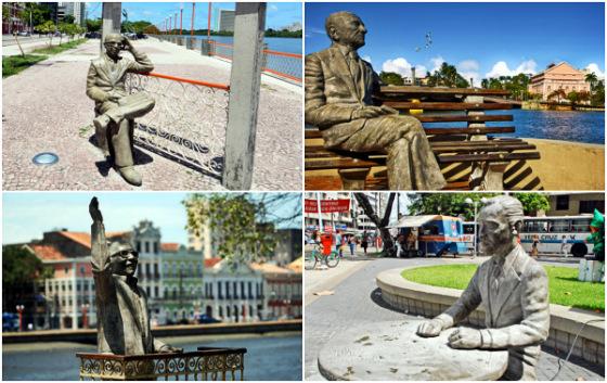 Estátuas de Manuel Bandeira, João Cabral de Melo Neto, Capiba e Carlos Pena Filho no Recife. Fotos: Diario de Pernambuco e Prefeitura do Recife